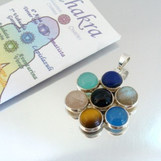 23790 SILVER PENDANT WITH 7 CHAKRA STONES 35 MM