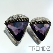 23181-1 METAL FASHION EARRINGS WITH GLASS STONES