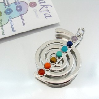 23004-12 METAL PENDANT MADE WITH 7 CHAKRA STONES