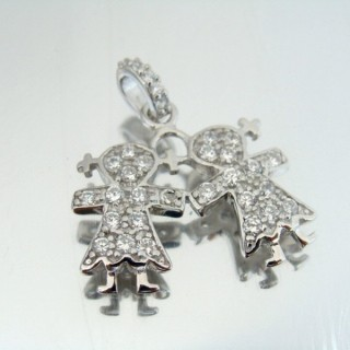 24657 SILVER PENDANT WITH RHODIUM PLATING 23 X 25 MM