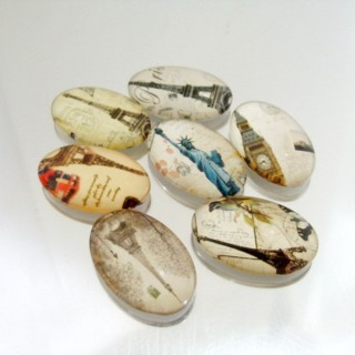 22695-03 PACK OF 7 PCS RESIN CABOCHON 20 X 30 MM