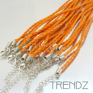 19507 NARANJA PACK OF 10 SYNTHETIC LEATHER PLATTED CORDS