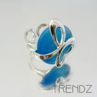 22303 RHODIUM PLATED ADJUSTABLE RING WITH CAT'S EYE STONE