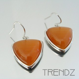 22320 RHODIUM PLATED EARRINGS WITH CAT'S EYE STONE