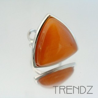22321 RHODIUM PLATED ADJUSTABLE RING WITH CAT'S EYE STONE