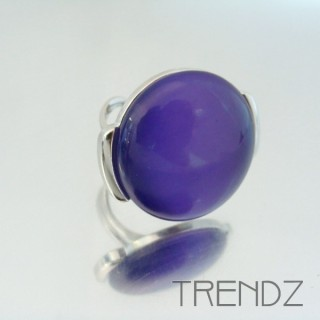 22339 RHODIUM PLATED ADJUSTABLE RING WITH CAT'S EYE STONE