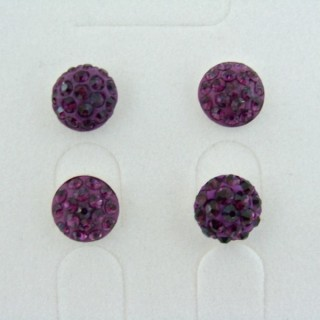 19160-2 AMETHYST 2 PAIRS HALF BALL 8 MM SILVER EARRINGS