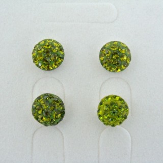 19160-2 OLIVINE 2 PAIRS HALF BALL 8 MM SILVER EARRINGS
