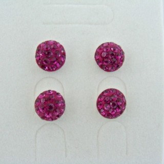 19160-2 FUCHSIA 2 PAIRS HALF BALL 8 MM SILVER EARRINGS