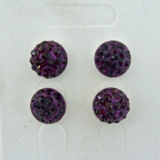 19162-2 AMETHYST 2 PAIRS HALF BALL 10 MM SILVER EARRINGS