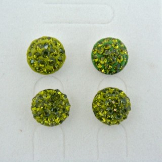 19162-2 OLIVINE 2 PAIRS HALF BALL 10 MM SILVER EARRINGS