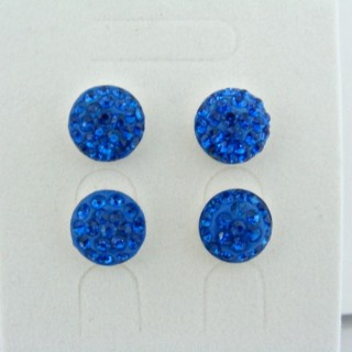 19162-2 SAPPHIRE 2 PAIRS HALF BALL 10 MM SILVER EARRINGS
