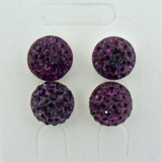 19164-2 AMETHYST 2 PAIRS HALF BALL 12 MM SILVER EARRINGS