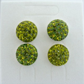 19164-2 OLIVINE 2 PAIRS HALF BALL 12 MM SILVER EARRINGS