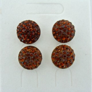 19164-2 SMOKED TOPAZ 2 PAIRS HALF BALL 12 MM SILVER EARRINGS