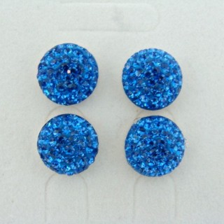 19164-2 SAPPHIRE 2 PAIRS HALF BALL 12 MM SILVER EARRINGS