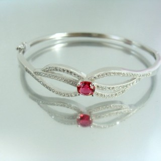 23099-2 RHODIUM PLATED SILVER BANGLE WITH CUBIC ZIRCONIA