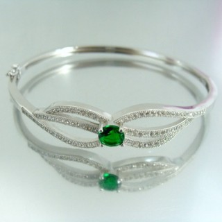 23099-3 RHODIUM PLATED SILVER BANGLE WITH CUBIC ZIRCONIA