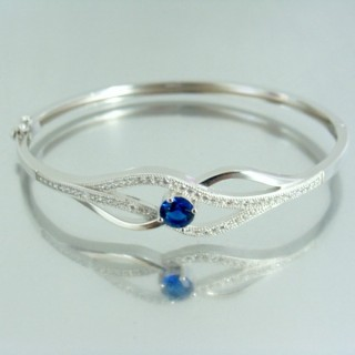 23100-1 RHODIUM PLATED SILVER BANGLE WITH CUBIC ZIRCONIA