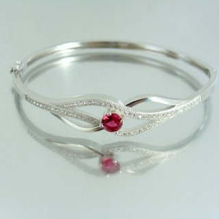 23100-2 RHODIUM PLATED SILVER BANGLE WITH CUBIC ZIRCONIA