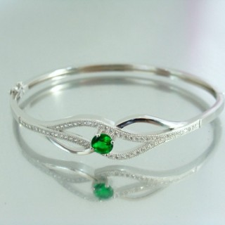 23100-3 RHODIUM PLATED SILVER BANGLE WITH CUBIC ZIRCONIA