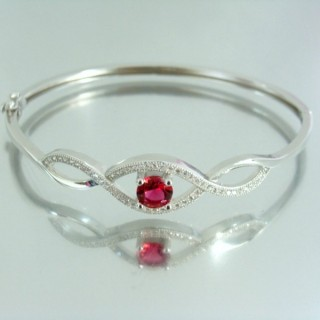 23101-2 RHODIUM PLATED SILVER BANGLE WITH CUBIC ZIRCONIA