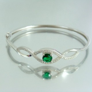 23101-3 RHODIUM PLATED SILVER BANGLE WITH CUBIC ZIRCONIA