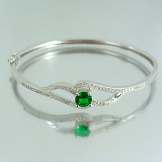 23102-1 RHODIUM PLATED SILVER BANGLE WITH CUBIC ZIRCONIA