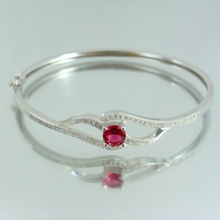 23102-2 RHODIUM PLATED SILVER BANGLE WITH CUBIC ZIRCONIA