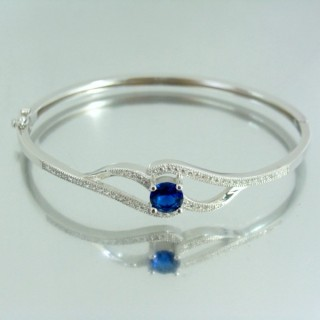23102-3 RHODIUM PLATED SILVER BANGLE WITH CUBIC ZIRCONIA