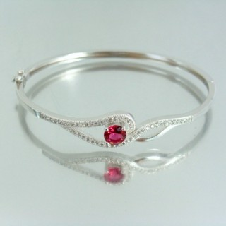 23103-2 RHODIUM PLATED SILVER BANGLE WITH CUBIC ZIRCONIA