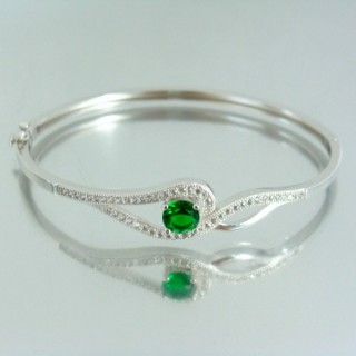 23103-3 RHODIUM PLATED SILVER BANGLE WITH CUBIC ZIRCONIA