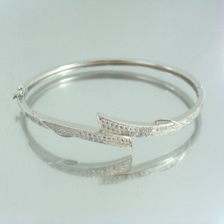 23107 RHODIUM PLATED SILVER BANGLE WITH CUBIC ZIRCONIA