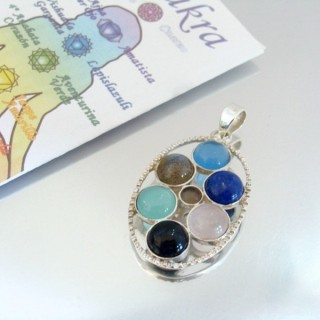23786 SILVER PENDANT WITH 7 CHAKRA STONES 34 X 24 MM