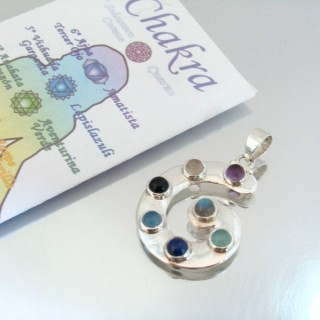 23789 SILVER PENDANT WITH 7 CHAKRA STONES 32 X 25 MM
