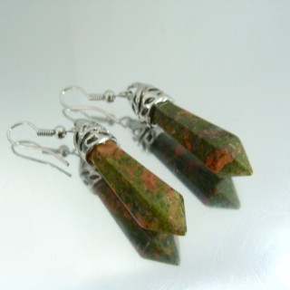 24106-11 UNAKITE FISH HOOK EARRINGS WITH NATURAL STONE