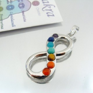 23004-01 METAL PENDANT MADE WITH 7 CHAKRA STONES