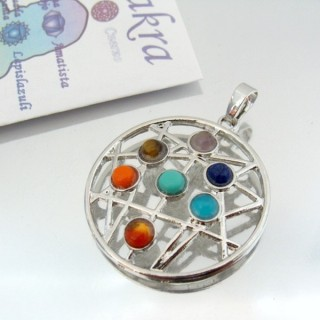 23004-04 METAL PENDANT MADE WITH 7 CHAKRA STONES