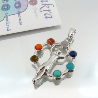 23004-07 METAL PENDANT MADE WITH 7 CHAKRA STONES