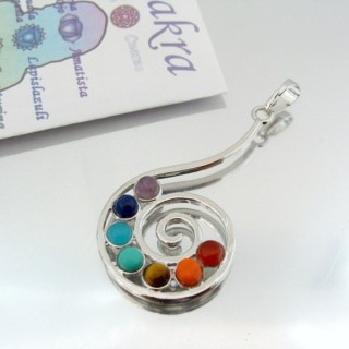 23004-10 METAL PENDANT MADE WITH 7 CHAKRA STONES