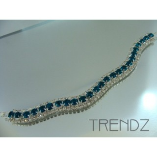 16577 BLUE ZIRCON WAVY BLING BRACELET IN COLOURS