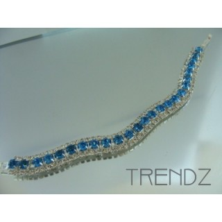 16577 AQUA WAVY BLING BRACELET IN COLOURS
