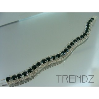 16577 EMERALD WAVY BLING BRACELET IN COLOURS