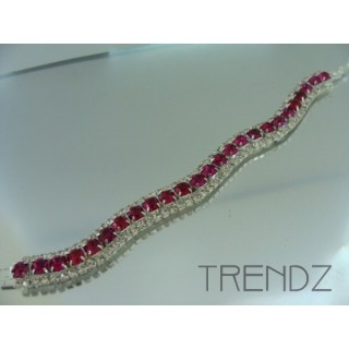 16577 FUCHSIA WAVY BLING BRACELET IN COLOURS