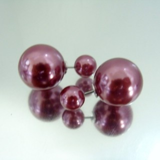 23268-12 PLASTIC PEARLS DOUBLE BALL FASHION EARRINGS