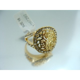 17567 GOLD SIZE 17 RHODIUM PLATED METAL & GLASS RING