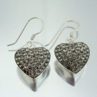 24426 SILVER HEARTS SHAPED EARRINGS 18 X 15 MM