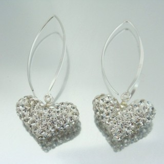24428-1 SILVER HEARTS SHAPED EARRINGS 48 X 21 MM