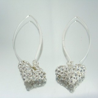 24431-1 SILVER HEARTS SHAPED EARRINGS 45 X 16 MM