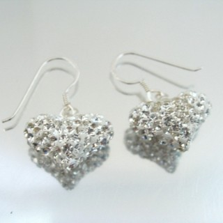 24437 HEART SHAPED SILVER 15 X 18 MM EARRINGS